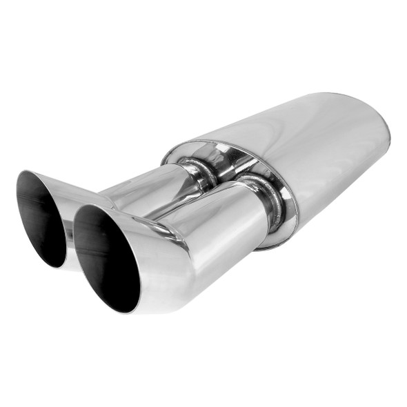 SUPERFASTRACING Exhaust Race Muffler 3Center In 2.5 Dual Side Out Aluminized Steel Universal