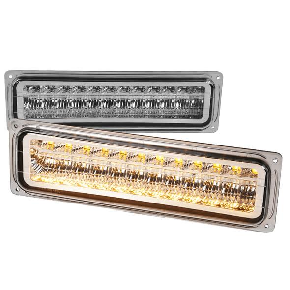 1988-1998 Chevrolet C/K Blazer/Tahoe/Silverado GMC Sierra/Yukon LED Bumper Lights (Chrome Housing/Clear Lens)