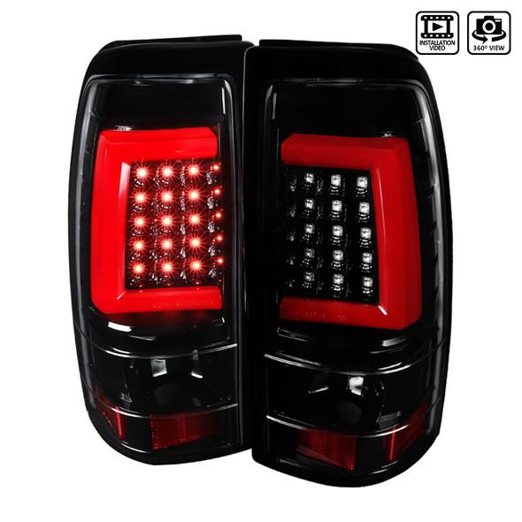 2003-2007 Chevrolet GMC Silverado/Sierra 1500/2500/3500 HD LED Tail Lights (Jet Black Housing/Clear Lens)