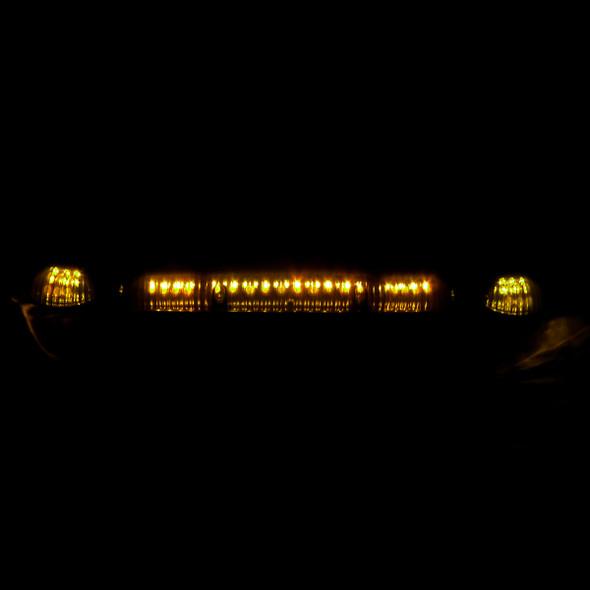 Universal 3PC Set Roof Cab Amber LED Lights (Black Housing/Smoke Lens)
