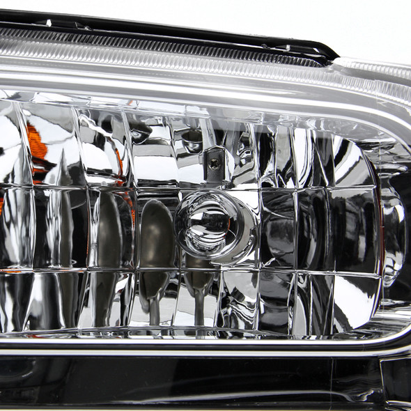 2005-2007 Ford F-250/F-350/F-450/F-550/Excursion Crystal Headlights (Chrome Housing/Clear Lens)