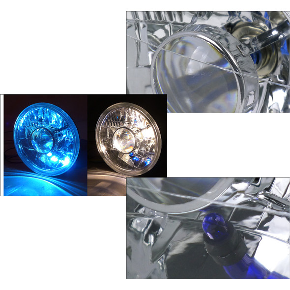 "Universal 7"" Round Projector Headlights (Chrome Housing/Clear Lens)"