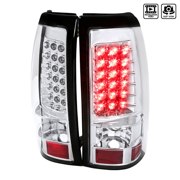 2003-2006 Chevrolet Silverado LED Tail Lights (Chrome Housing/Clear Lens)