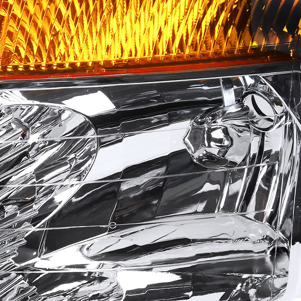 2004-2015 Nissan Titan/ 2004-2007 Armada Factory Style Headlights w/ Amber Reflectors (Chrome Housing/Clear Lens)