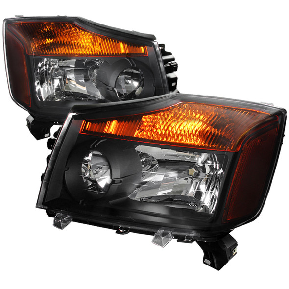 2004-2015 Nissan Titan/ 2004-2007 Armada Factory Style Headlights w/ Amber Reflectors (Matte Black Housing/Clear Lens)