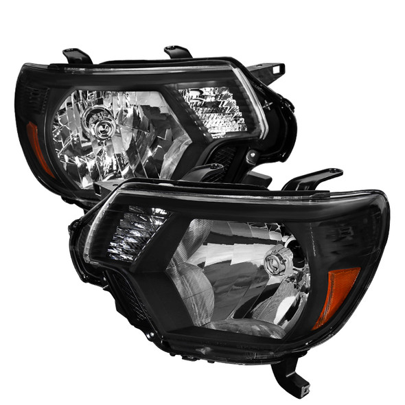 2012-2015 Toyota Tacoma Factory Style Headlights w/ Amber Reflectors (Matte Black Housing/Clear Lens)