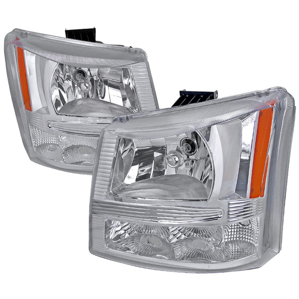 2002-2006 Chevrolet Avalanche/ 2003-2007 Silverado 1PC Factory Style Crystal Headlights w/ Bumper Lights (Chrome Housing/Clear Lens)