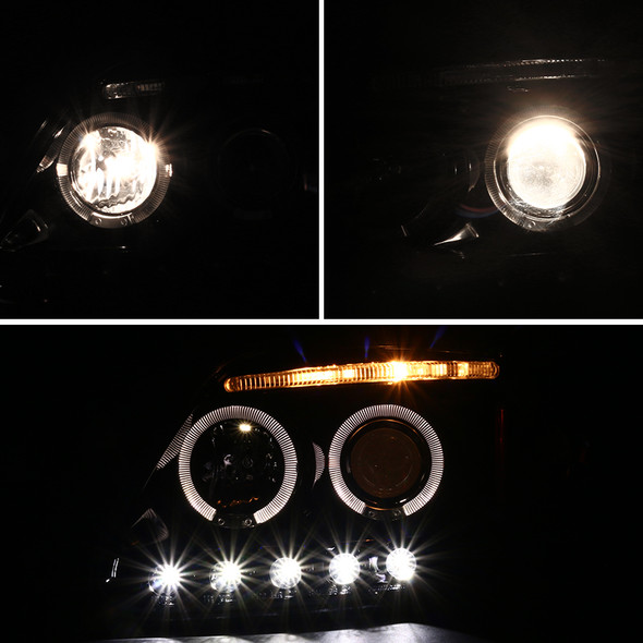 1997-2004 Ford F-150/ 1997-2002 Expedition Dual Halo Projector Headlights (Jet Black Housing/Clear Lens)