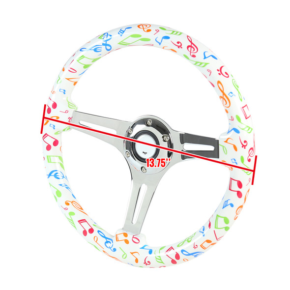 "350mm 3-Spoke Musical Notes 2"" Deep Dish Wooden Steering Wheel (Chrome)"