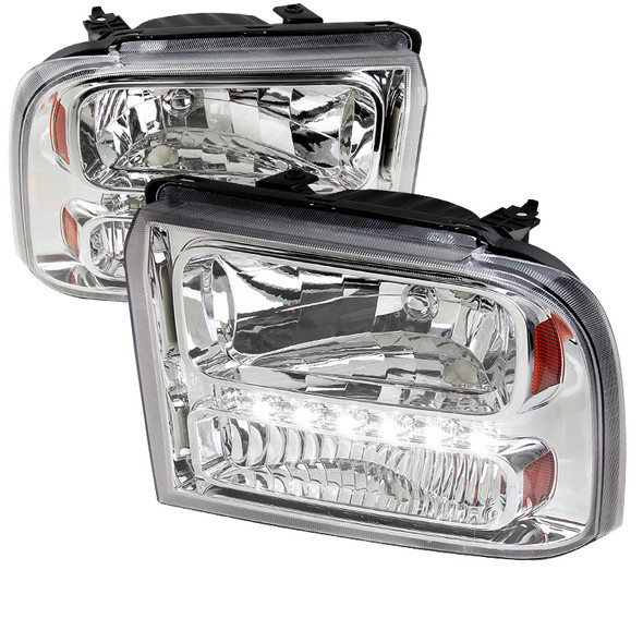 2005-2007 Ford F-250/F-350/F-450/F-550/Excursion Crystal Headlights w/ SMD LED Light Strip (Chrome Housing/Clear Lens)