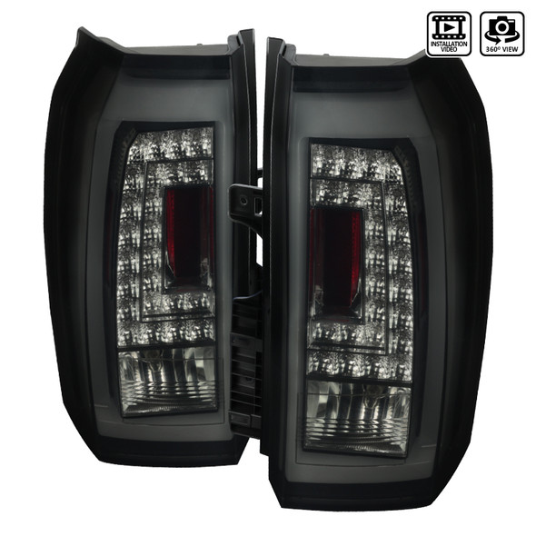 2015-2018 Chevrolet Tahoe Surban Rear Break LED Tail Lights Lamps (Glossy Black Housing/Smoke Lens)