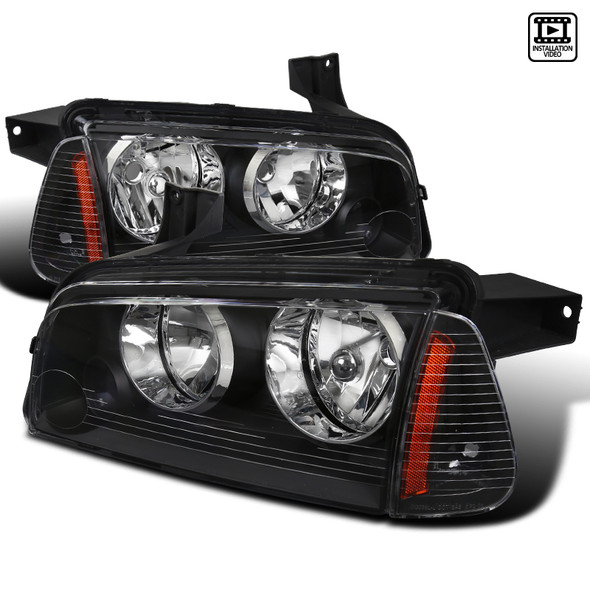 2006-2010 Dodge Charger Factory Style Headlights + Corner Lights (Matte Black Housing/Clear Lens)