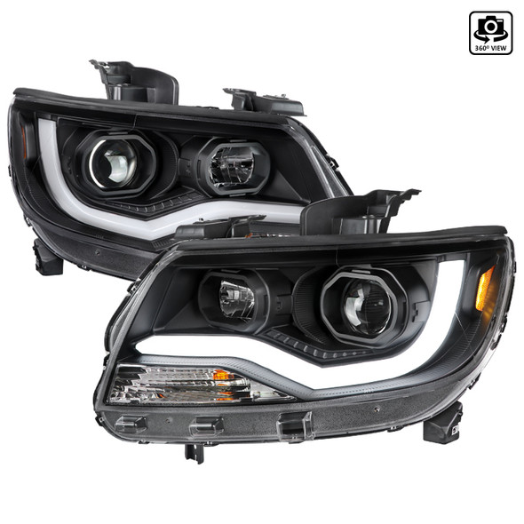 2015-2021 Chevrolet Colorado LED Bar Projector Headlights (Matte Black Housing/Clear Lens)