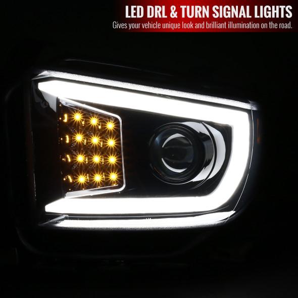 2014-2018 Toyota Tundra Projector Headlights w/ LED DRL Bar (Glossy Black Housing/Smoke Lens)