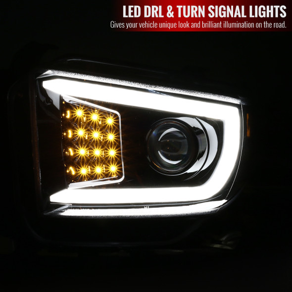 2014-2018 Toyota Tundra Projector Headlights w/ LED DRL Bar (Glossy Black Housing/Clear Lens)