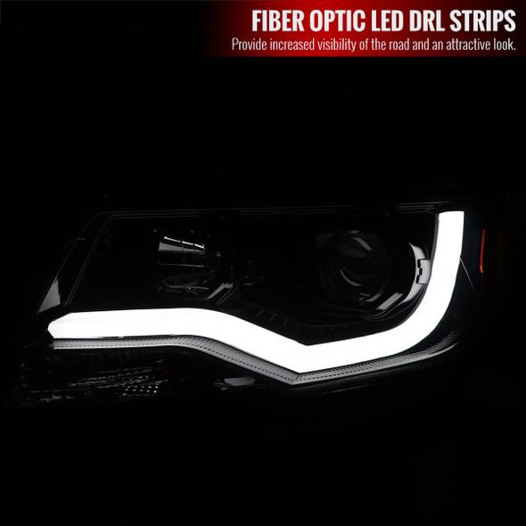 2015-2021 Chevrolet Colorado LED Bar Projector Headlights (Glossy Black Housing/Smoke Lens)