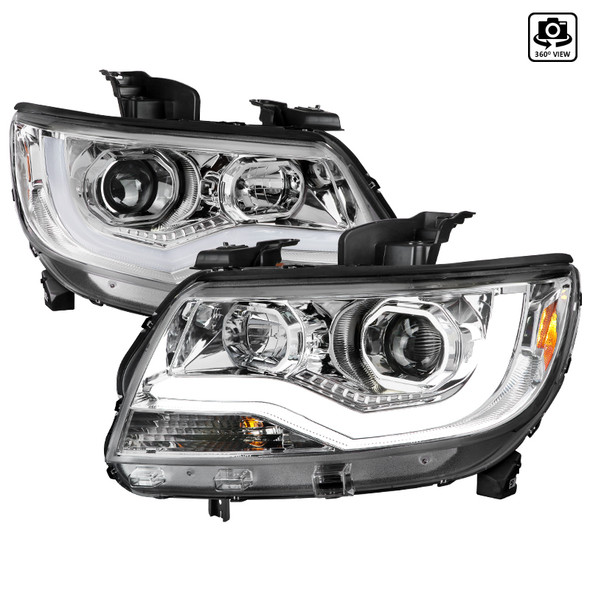 2015-2021 Chevrolet Colorado LED Bar Projector Headlights (Chrome Housing/Clear Lens)