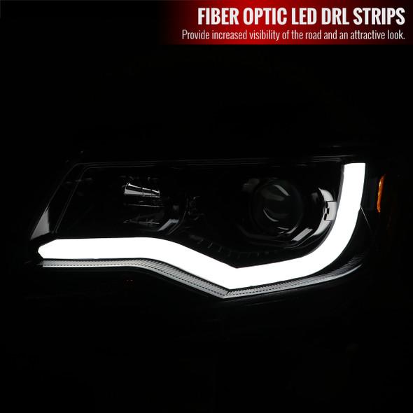 2015-2021 Chevrolet Colorado LED Bar Projector Headlights (Glossy Black Housing/Clear Lens)
