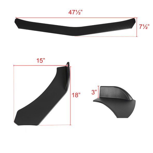 Universal Matte Black Polypropylene 3PC Bumper Lip