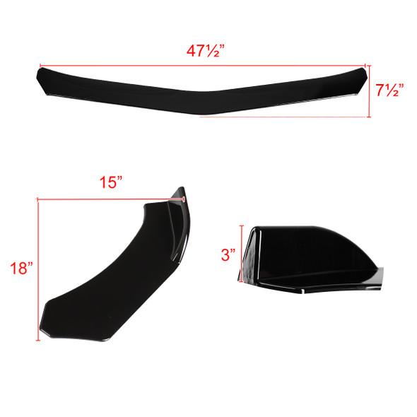Universal 3-PC Front Bumper Lip (Glossy Black)