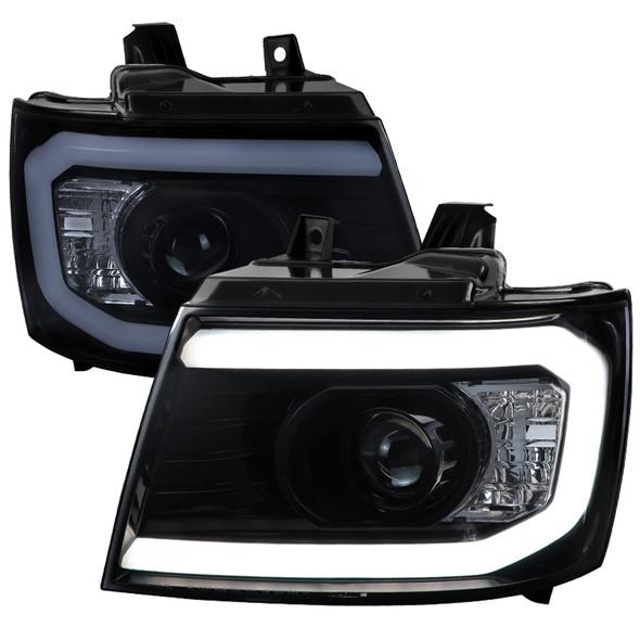 2007-2013 Chevrolet Avalanche/ 2007-2014 Tahoe Suburban LED C-Bar Projector Headlights (Glossy Black Housing/Smoke Lens)
