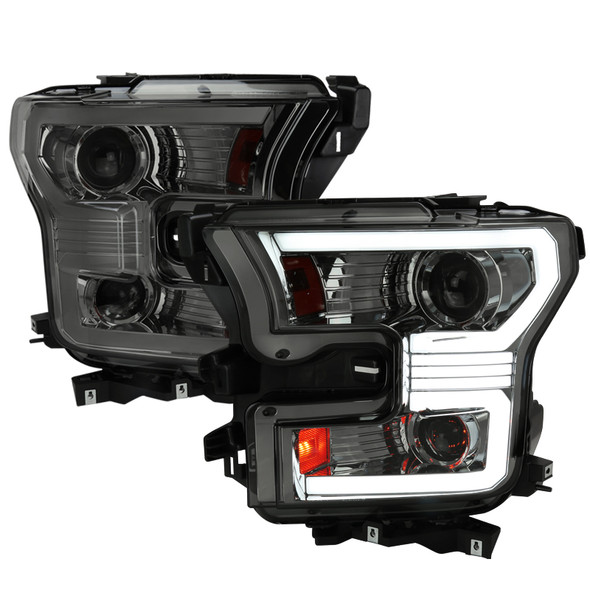 2015-2017 Ford F-150 LED Bar Projector Headlights w/ Switchback Sequential Turn Signals (Chrome Housing/Smoke Lens)