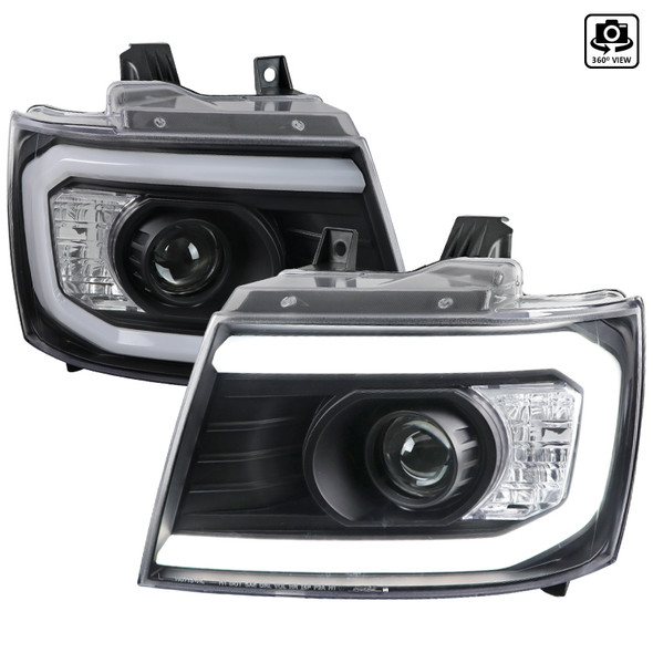 2007-2013 Chevrolet Avalanche/ 2007-2014 Tahoe Suburban LED C-Bar Projector Headlights (Black Housing/Clear Lens)