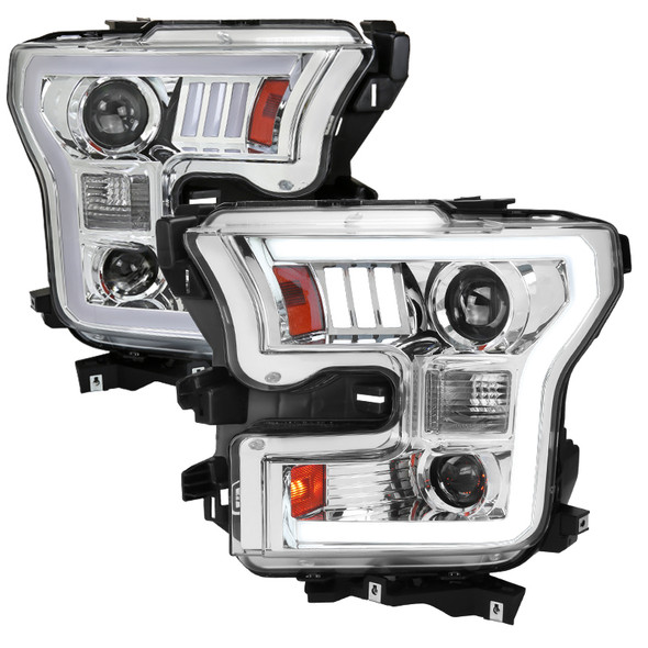 2015-2017 Ford F-150 LED Bar Projector Headlights - RS (Chrome Housing/Clear Lens)