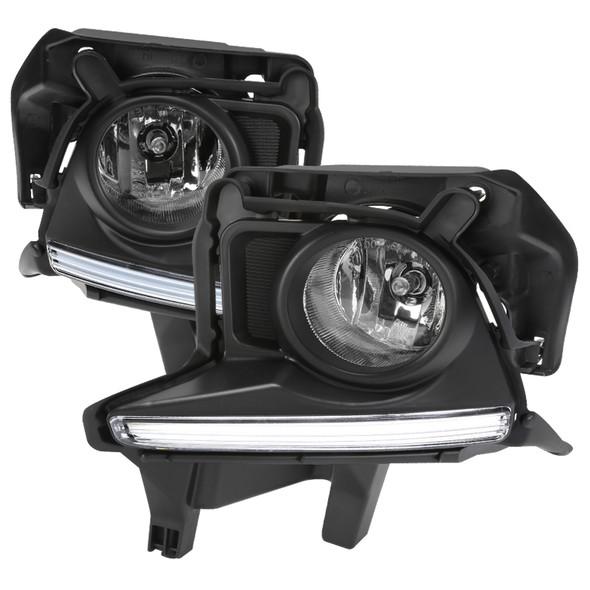 2014-2016 Toyota Highlander H16 Fog Lights Kit w/ LED Light Strip (Chrome Housing/Clear Lens)