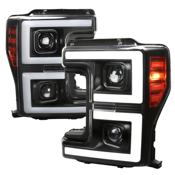 2017-2019 Ford F-250 F-350 F-450 F-550 LED C-Bar Projector Headlights w/ Switchback Sequential Turn Signals (Black Housing/Clear Lens)