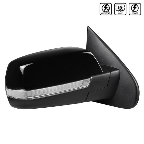 2014-2018 Chevrolet Silverado/GMC Sierra Glossy Black Power Adjustable, Auto-Fold, & Heated Side Mirror w/ LED Turn Signal & Puddle Light - Passenger Side Only