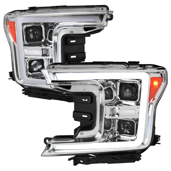 2018-2020 Ford F-150 LED C-Bar Projector Headlights w/ Switchback Sequential Turn Signal Lights (Chrome Housing/Clear Lens)