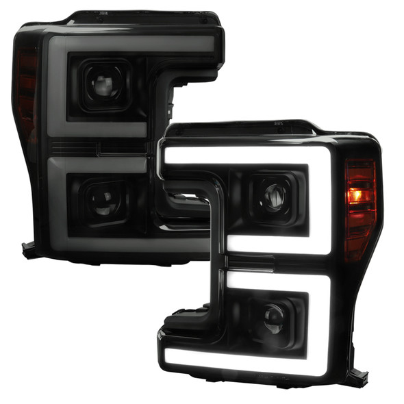 2017-2019 Ford F-250 F-350 F-450 F-550 LED C-Bar Projector Headlights w/ Switchback Sequential Turn Signals (Glossy Black Housing/Smoke Lens)