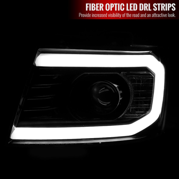 2007-2013 Chevrolet Avalanche/ 2007-2014 Tahoe Suburban LED C-Bar Projector Headlights (Jet Black Housing/Clear Lens)