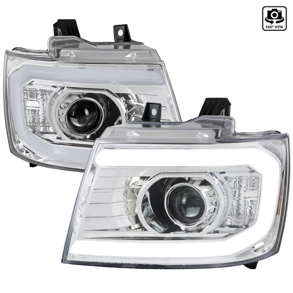 2007-2013 Chevrolet Avalanche/ 2007-2014 Tahoe Suburban LED C-Bar Projector Headlights (Chrome Housing/Clear Lens)