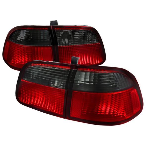 1999-2000 Honda Civic Sedan Tail Lights (Chrome Housing/Red Smoke Lens)