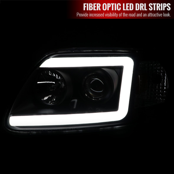 1997-2004 Ford F-150/Expedition Projector Headlights w/ LED DRL Tube (Black Housing/Clear Lens)