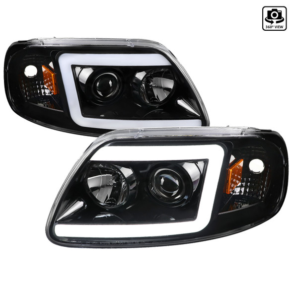 1997-2004 Ford F-150 / 1997-2002 Expedition LED C-Bar Projector Headlights (Jet Black Housing/Clear Lens)