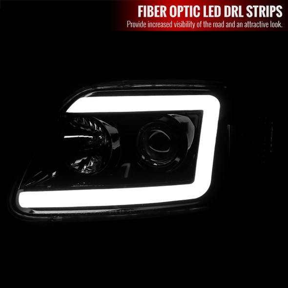 1997-2004 Ford F-150/Expedition Projector Headlights w/ LED DRL Tube (Jet Black Housing/Clear Lens)