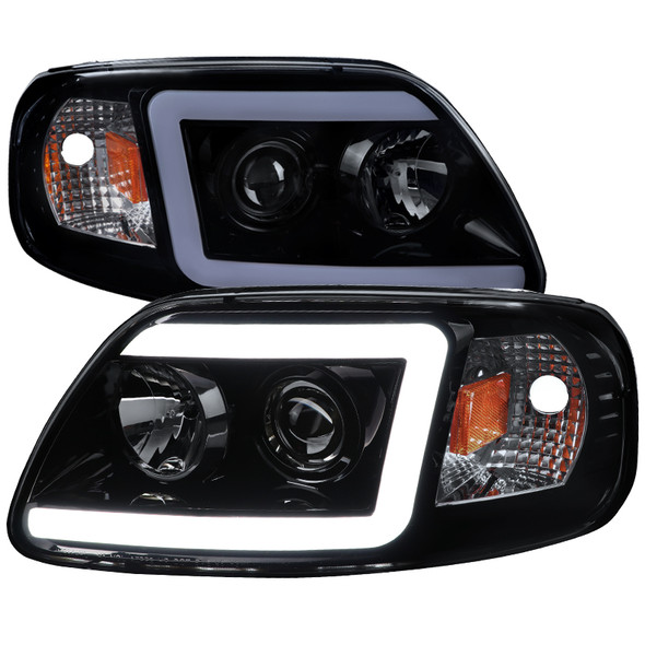 1997-2004 Ford F-150 / 1997-2002 Expedition LED C-Bar Projector Headlights (Glossy Black Housing/Smoke Lens)