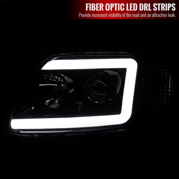 1997-2004 Ford F-150/Expedition Projector Headlights w/ LED DRL Tube (Glossy Black Housing/Clear Lens)