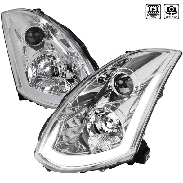 2003-2007 Infiniti G35 Coupe LED Bar Projector Headlights w/ Sequential Turn Signals (Chrome Housing/Clear Lens)