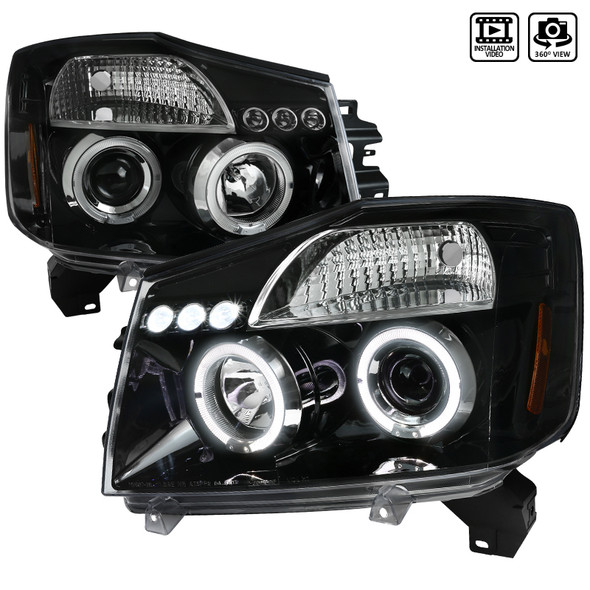 2004-2015 Nissan Titan/ 2004-2007 Armada Dual Halo Projector Headlights (Jet Black Housing/Clear Lens)