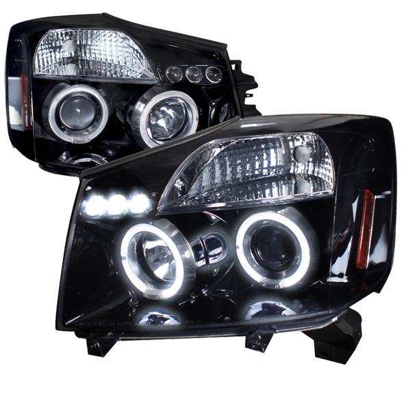 2004-2015 Nissan Titan/ 2004-2007 Armada Dual Halo Projector Headlights (Glossy Black Housing/Smoke Lens)