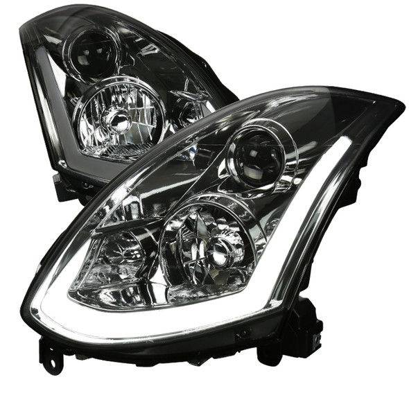 2003-2007 Infiniti G35 Coupe LED Bar Projector Headlights w/ Sequential Turn Signals (Chrome Housing/Smoke Lens)