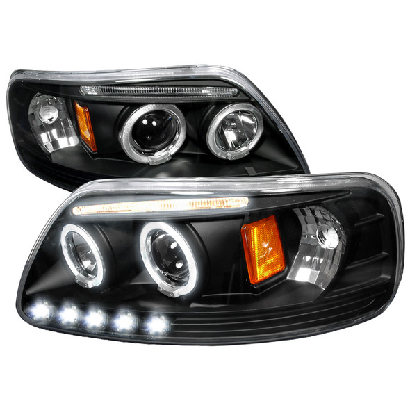 1997-2004 Ford F-150/ 1997-2002 Expedition Dual Halo Projector Headlights (Matte Black Housing/Clear Lens)