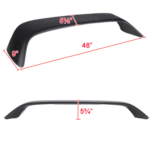 1996-2000 Honda Civic Coupe Matte Black ABS Rear Spoiler Wing w/ LED 3rd Brake Light