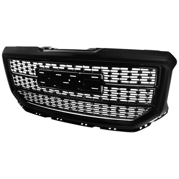 Spec-D Tuning for GMC Sierra 1500 Light Duty Polished Black ABS Front Bumper Hood Grille Grill