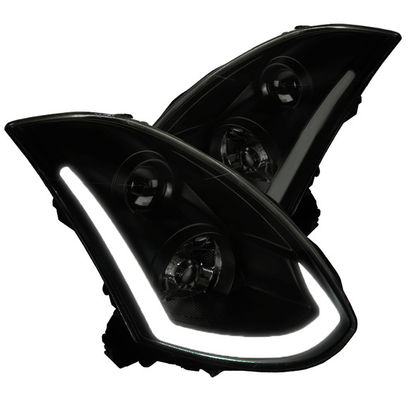 2003-2007 Infiniti G35 Coupe Black Housing Smoke Lens Dual Halo Projector Headlights w/ LED DRL & Sequential Turn Signal