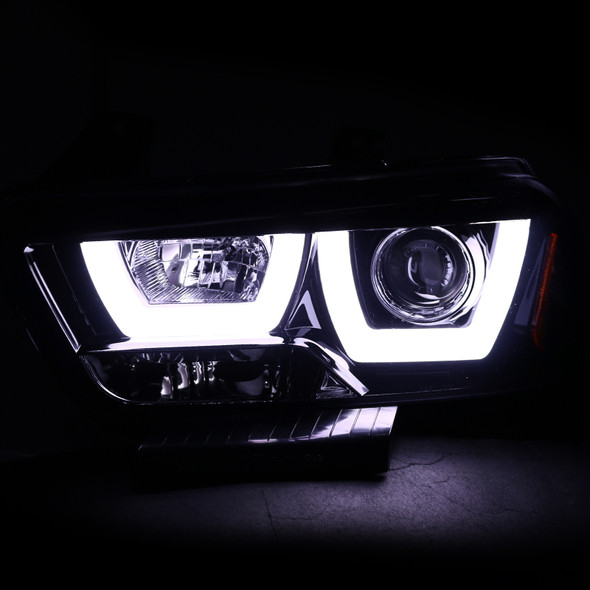 2011-2014 Dodge Charger Dual Iced Halo Projector Headlights (Glossy Black Housing/Smoke Lens)